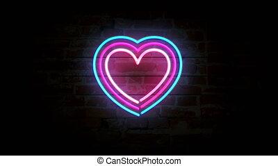 symbole, mur, coeur, néon, brique