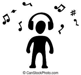 symbole musique, écouteurs, silhouette