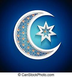 symbole, musulman, -, communauté, lune, croissant, vacances