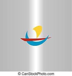 symbole, nautisme, signe, logo, voyage, bateau, icône