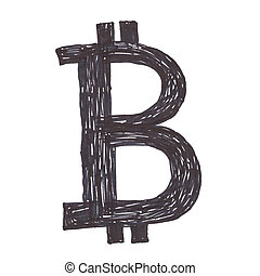 symbole, noir, bitcoin, dessin