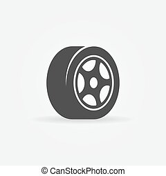 symbole, noir, ou, pneu, icône