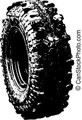 symbole, noir, pneu, offroad