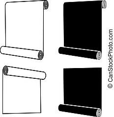 symbole, noir, rouleau, n'importe quoi