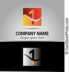 symbole, nombre, templ, 1, logo, une, icône