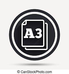 symbole., norme, a3, papier, icon., document, taille