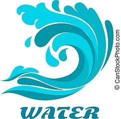 symbole, océan, bordage, résumé, vague