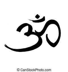 symbole om, -, n, sacré, hindouisme