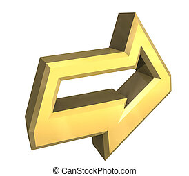 symbole, or, -, flèche, 3d