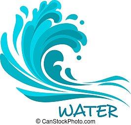 symbole, orageux, résumé, mer, vague