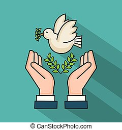 symbole, paix, branche, mains, olive, colombe