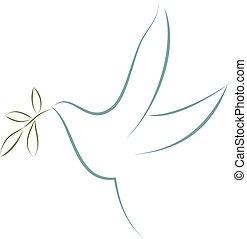 symbole, paix, leaves., vecteur, olive, colombe