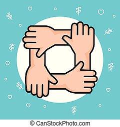 symbole, paix, unité, communauté, mains