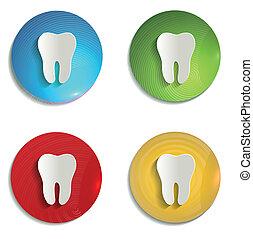 symbole, papier, ensemble, coloré, dent