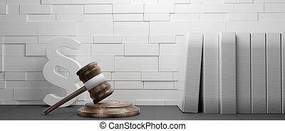 symbole, paragraphe, marteau, 3d-illustration, fond, jugement