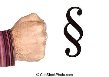 symbole, paragraphe, poing, fond, blanc