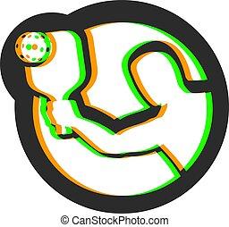 symbole, pickleball, art, effet visuel