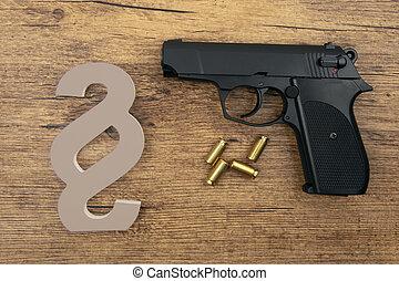 symbole, pistolet, noir, paragraphe
