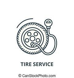 symbole, pneu, contour, pression, linéaire, concept, pompe, vecteur, signe, ligne, service, icône