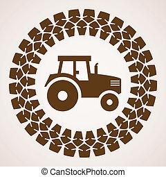 symbole, pneu, impression, tracteur, vecteur, conception