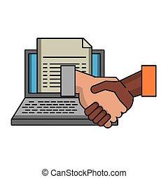 symbole, poignée main, document, ordinateur portable, business