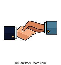 symbole, poignée main, hommes affaires