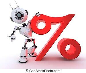symbole, pourcentage, robot