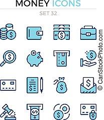 symbole, prämie, grobdarstellung, heiligenbilder, einfache , geld, set., modern, icons., vektor, pictograms., quality., linie, design., schlanke
