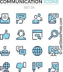 symbole, prämie, grobdarstellung, heiligenbilder, einfache , kommunikation, set., modern, icons., vektor, pictograms., quality., linie, design., schlanke