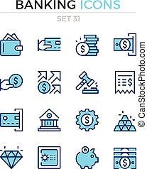 symbole, prämie, grobdarstellung, heiligenbilder, einfache , set., modern, icons., bankwesen, vektor, schlanke, quality., pictograms., linie, design.