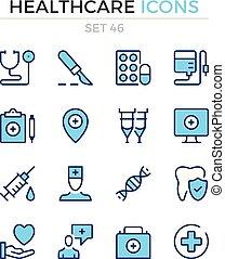 symbole, prämie, grobdarstellung, heiligenbilder, einfache , set., modern, icons., healthcare, vektor, pictograms., quality., linie, design., schlanke