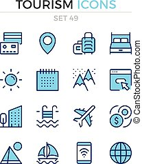 symbole, prämie, grobdarstellung, heiligenbilder, einfache , set., modern, icons., vektor, pictograms., quality., linie, design., tourismus, schlanke