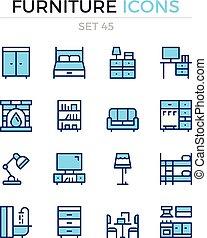 symbole, prämie, grobdarstellung, heiligenbilder, einfache , set., modern, icons., vektor, pictograms., quality., linie, design., möbel, schlanke