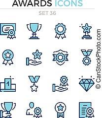 symbole, prämie, grobdarstellung, heiligenbilder, einfache , set., modern, icons., vektor, auszeichnungen, pictograms., quality., linie, design., schlanke