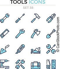 symbole, prämie, grobdarstellung, heiligenbilder, einfache , set., modern, icons., vektor, pictograms., quality., linie, design., werkzeuge, schlanke