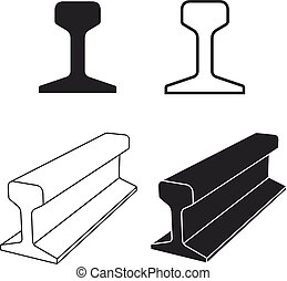symbole, profil, piste, rail, acier, train
