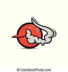 symbole, publicité, vector., bannière, logo, fumée, bowling, signe, nuit, clair