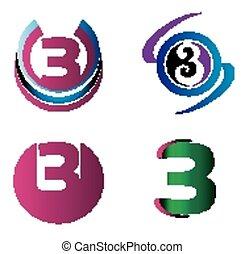 symbole, résumé, 3, nombre, logo, icône