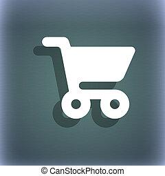 symbole, résumé, espace, achats, ton, text., fond, icône, ombre, bleu-vert, panier