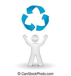 symbole, recyclage, haut, regarder, personne, 3d