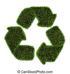 symbole, recyclage, herbe