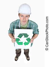 symbole, recyclage, signe, tenue, commerçant, afficher