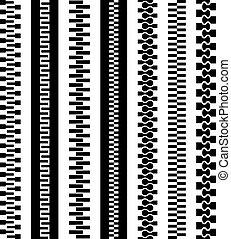 symbole, reißverschluss, vektor, schwarz, seamless
