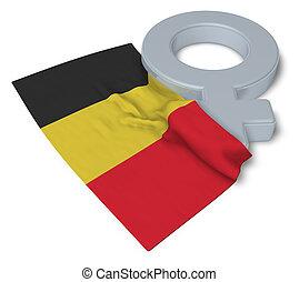 symbole, -, rendre, drapeau, feminin, belgique, 3d