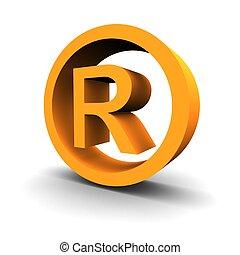 symbole, rendu, marque déposée, image, 3d