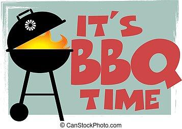 symbole, retro, barbecue