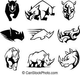 symbole., rhinocéros