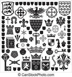 symbole, ritterwappen, dekorationen