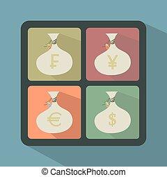 symbole, säcke, satz, geld- währung
