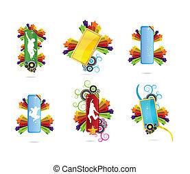 symbole, satz, gefärbt, sternen, kreativ